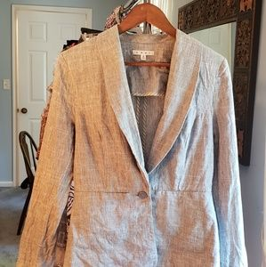CAbi linen/cotton blend tailored one button jacket